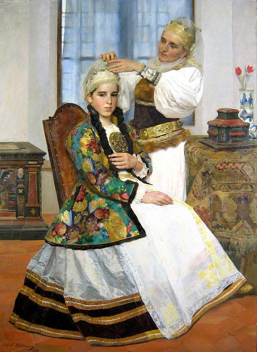 acuarela lui Robert Wellmann, Gatirea unei tinere sasoaice, din Galeriile de Arta Romaneasca Contemporana ale Muzeului National Brukenthal.