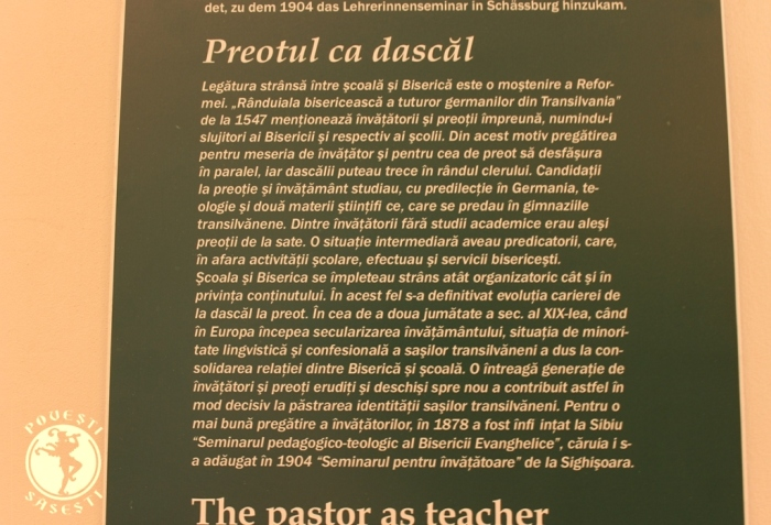 Panou explicativ de la Muzeul Bisericii Evanghelice, Sibiu.