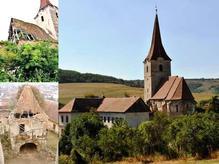 Atunci și acum. Un monument istoric salvat din paragină. Imaginea din dreapta arată biserica din Filitelnic după primele lucrări de reconstruire a acoperișului, realizate în 2013