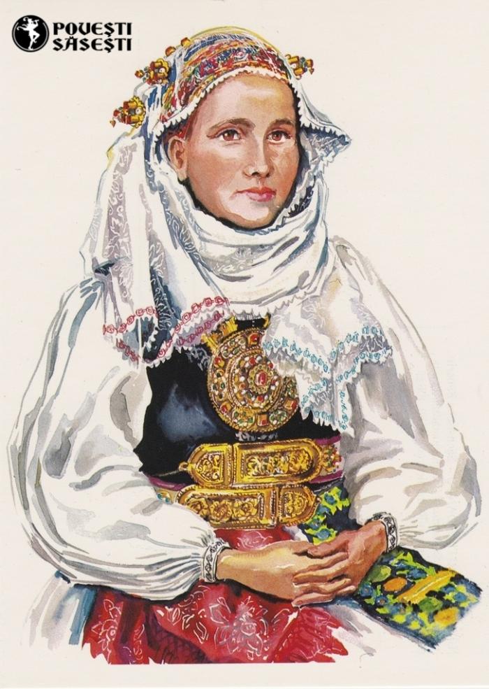 Săsoaică în costum de sărbătoare din Slimnic, Acuarelă 1982, Juliana Fabritius-Dancu