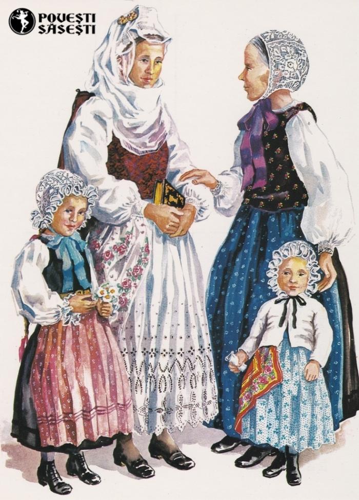 Săsoaice în costum de sărbătoare din Cisnădioara/Michelsberg, Acuarelă 1973, Juliana Fabritius-Dancu