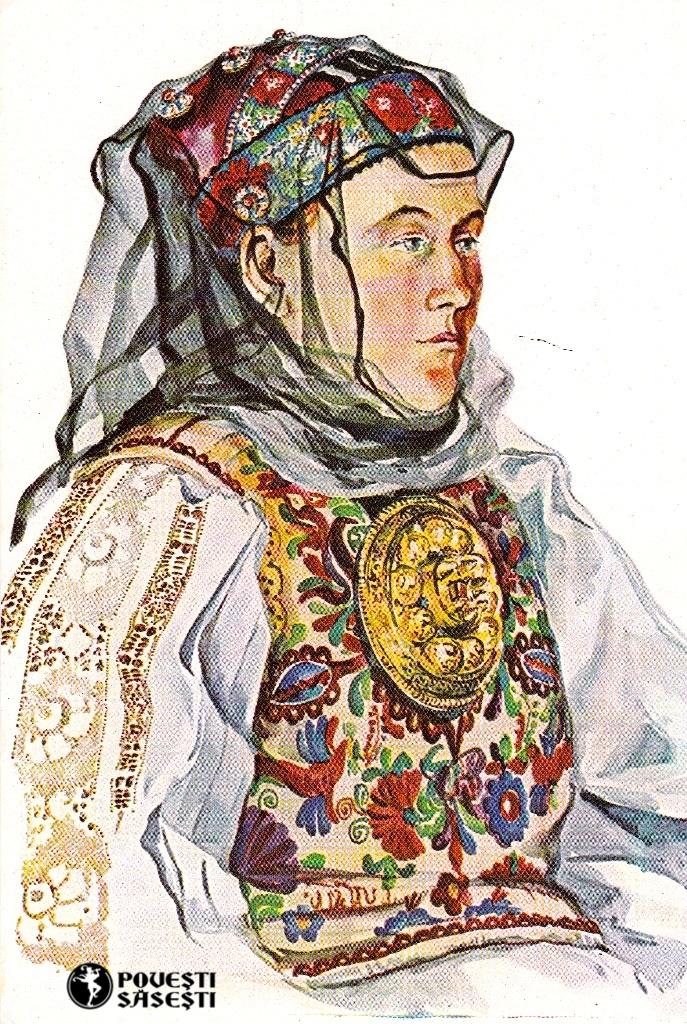 Săsoaică tânără în costum de sărbătoare din Zagăr/Rode (Mureș), Acuarelă 1975, Juliana Fabritius-Dancu