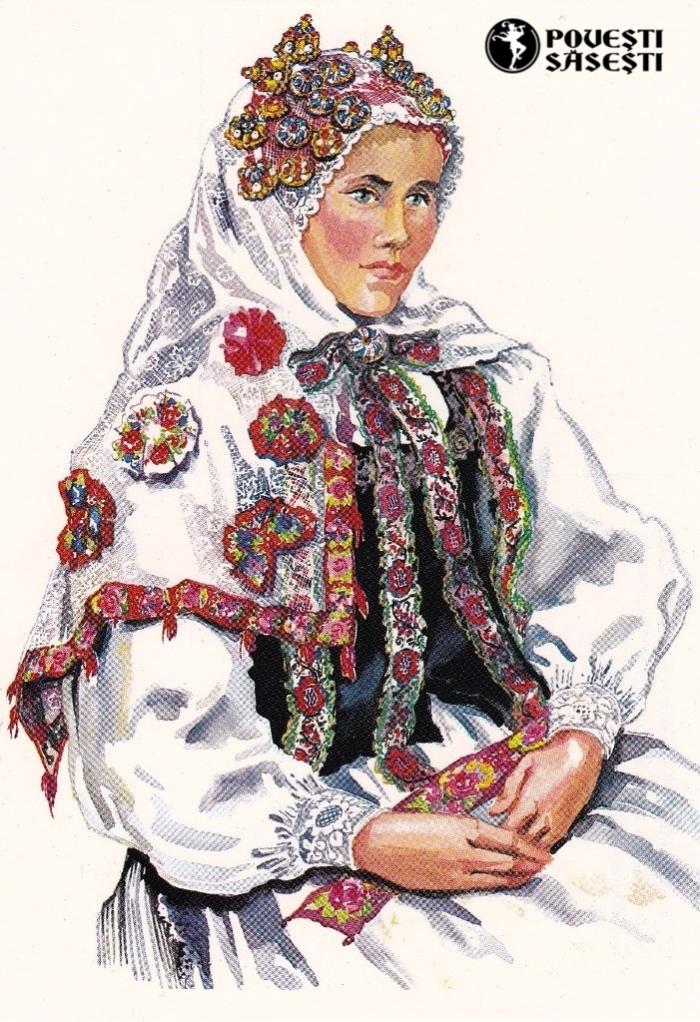 Săsoaică în costum de sărbătoare din Archita/Arkeden, Acuarelă 1982, Juliana Fabritius-Dancu