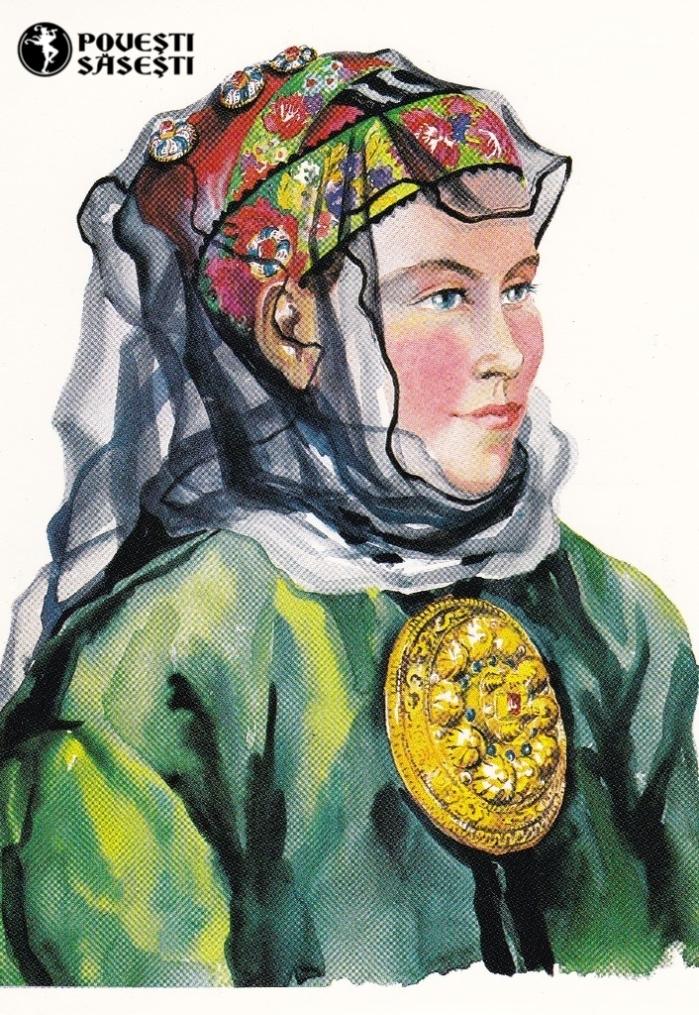 Săsoaică în costum de sărbătoare din Zagăr/Rode, Acuarelă 1982, Juliana Fabritius-Dancu