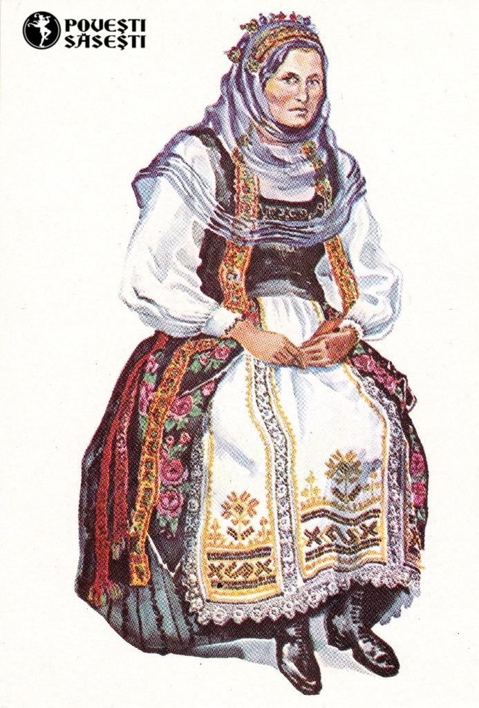 Săsoaică în costum de sărbătoare din Ticușu Vechi/Deutschtekes (Brașov), Acuarelă 1970, Juliana Fabritius-Dancu