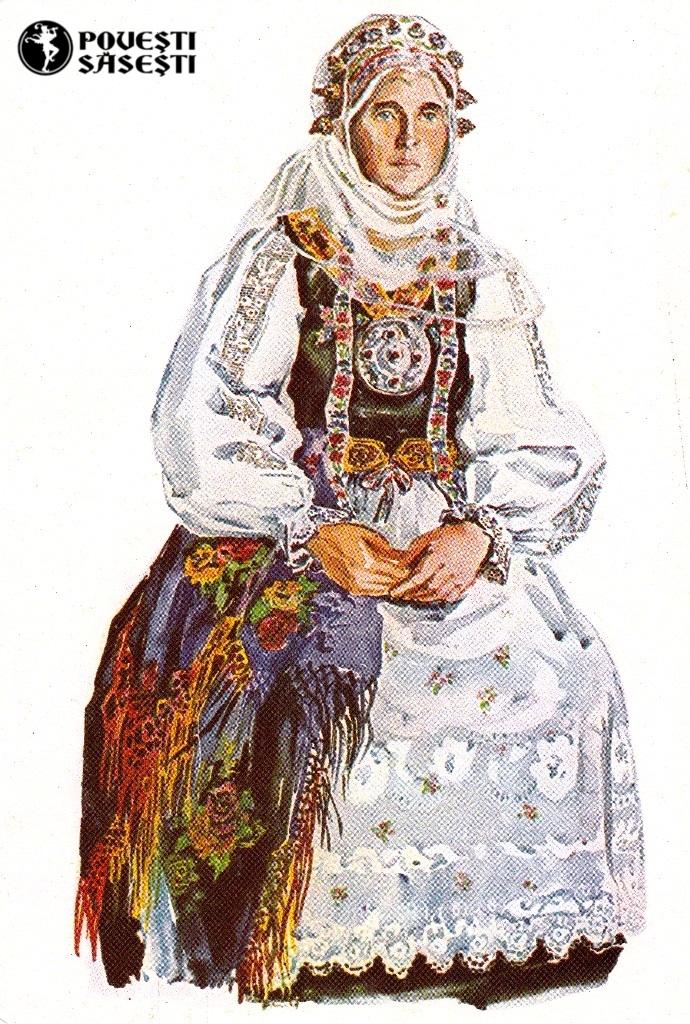 Săsoaică în costum de sărbătoare din Bunești/Bodendorf (Brașov), Acuarelă 1971, Juliana Fabritius-Dancu