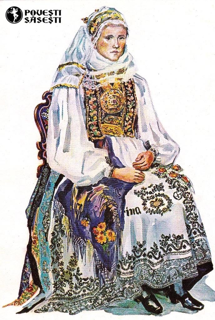 Săsoaică în costum de sărbătoare din Șura Mare/Großscheuern, Acuarelă 1971, Juliana Fabritius-Dancu