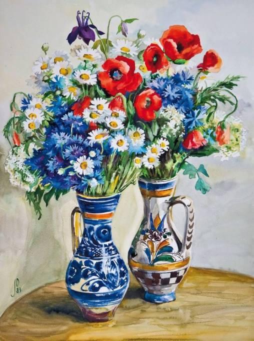Florile pajiștilor noastre. Acuarelă de Juliana Fabritius-Dancu. Sursa foto: auctions-fischer.de