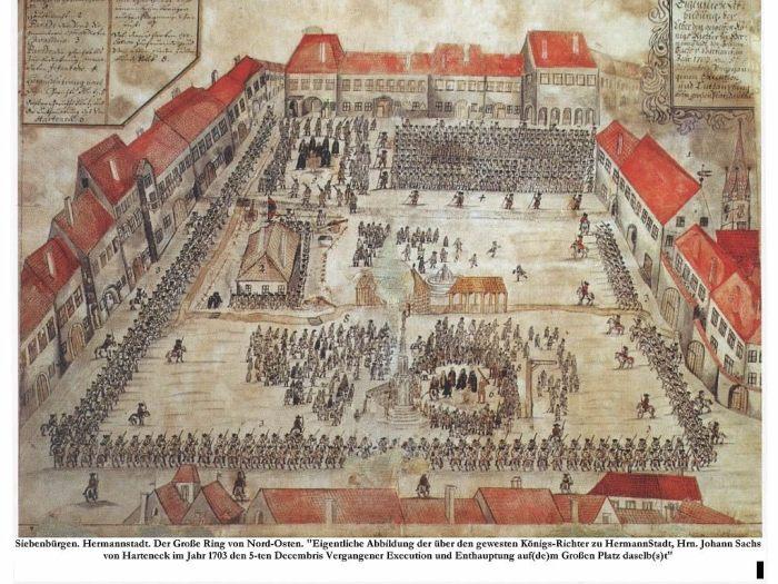 Decapitarea lui Johannes Sachs von Harteneck, primar al Sibiului si comitele sasilor, gravurü din 1703, Piata Mare, in care se vede Stalpul infamiei. Sursa Foto: patrimoniu.sibiu.ro