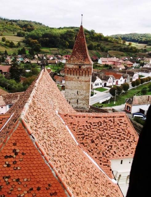 Vedere din turnul bisericii din Moșna. Foto: George Titei