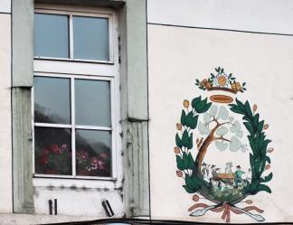 Stema breslei croitorilor, leii si anul construcției casei, 1567. Sebeș/Muehlbach, Alba. Foto: povești săsești, ianuarie 2014