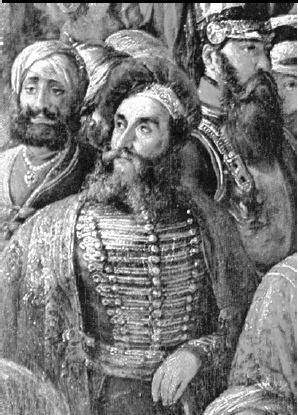 Johann Martin Honigberger, detaliu din tabloul Durbarul din Lahore, de Th.A Schoefft, cca 1850-1855. Sursa foto: academia.edu