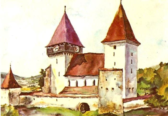 Merghindeal-Mergeln,  jud. Sibiu, acuarelade Juliana Fabritius-Dancu, 1969.