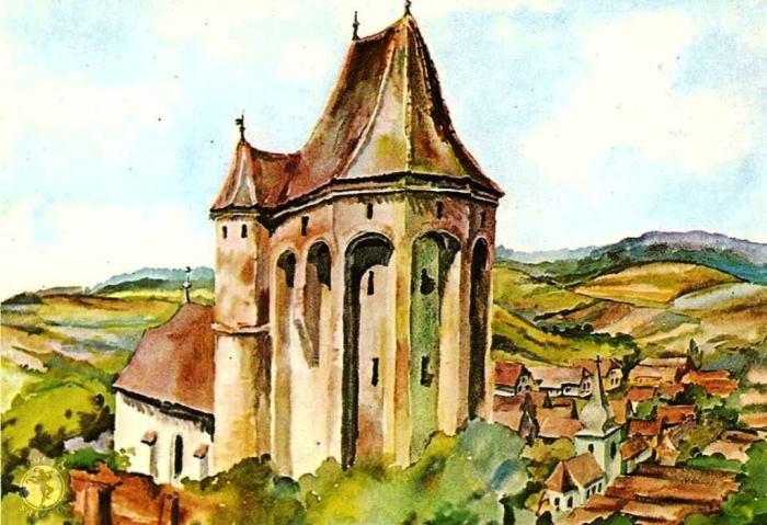Buzd-Bußt, jud. Sibiu, acuarela de Juliana Fabritius-Dancu, 1974.