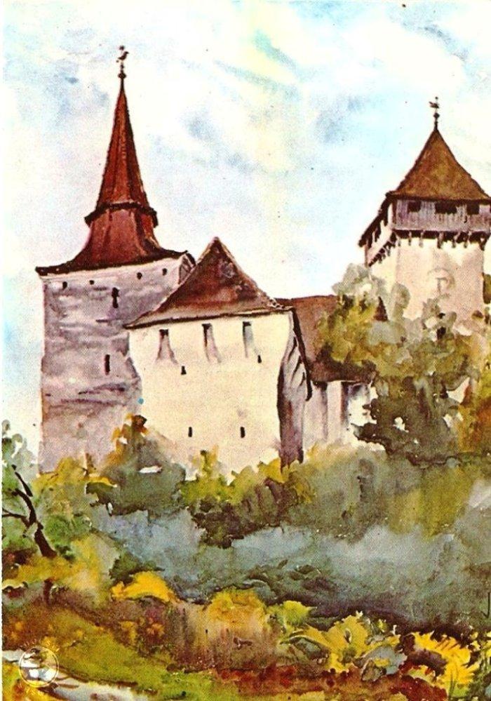 Movile-Hundertbücheln, jud. Sibiu, acuarela  de Juliana Fabritius-Dancu, 1970.