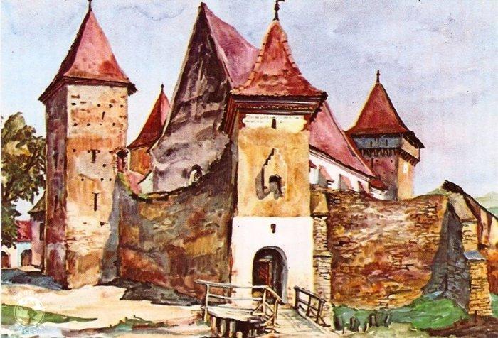 Valchid-Waldhütten, sec. XVI, jud. Sibiu, acuarela de Juliana Fabritius-Dancu, 1975