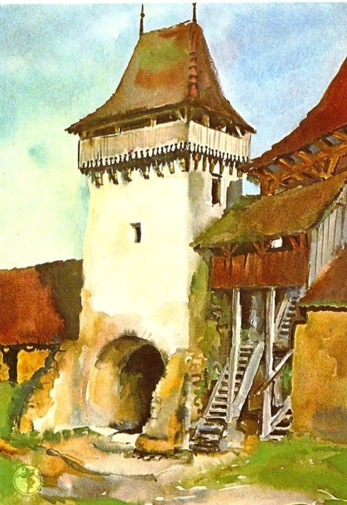 Turnul de poarta al cetatii taranesti din Viscri-Deutschweißkirch, acuarela  de Juliana Fabritius-Dancu, 1970.