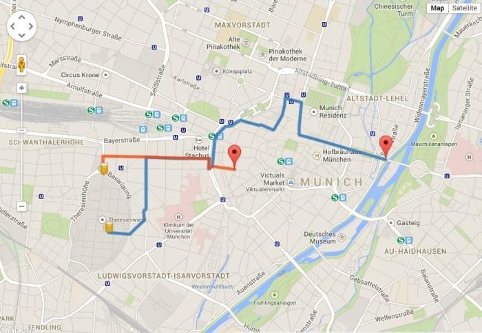 Linia albastră este traseul paradei de Oktoberfest din 21 septembrie 2014, la care vor participa și sașii transilvăneni