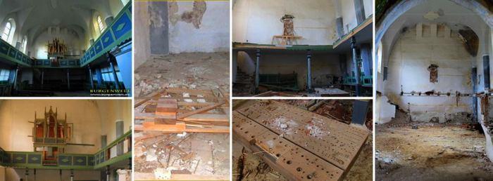 Orga bisericii din Dobârca, astăzi complet distrusă. Sursa foto: Projekt Kirchenburg Dobring