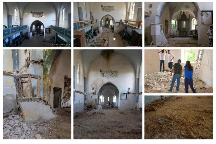 Biserica fortificată din Dobârca, de-a lungul timpului: stânga sus - interiorul de odinioară, spre dreapta imaginiii - situația actuală, cu primele lucrări de curățare a molozului în vara 2014. Sursa foto: Project Kirchenburg Dobring
