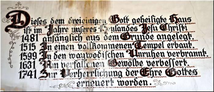 Inscripție din interiorul bisericii din Dobârca. Sursa foto: Projekt Kirchenburg Dobring