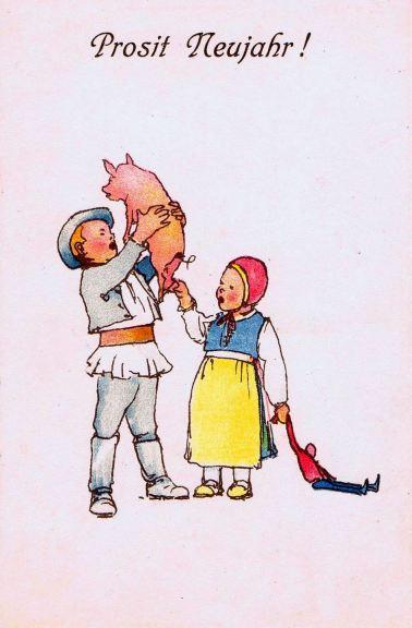 Copii de sași din Transilvania, 1920, carte poștală.