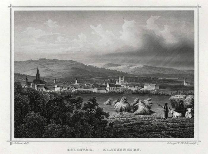 Cluj/Klausenburg/Kolozsvár. Ilustrată după o gravură semnată de K. Gungel și J. M. Kolb, după gravura originală a lui Ludwig Rohbock, din anii 1871-1875.