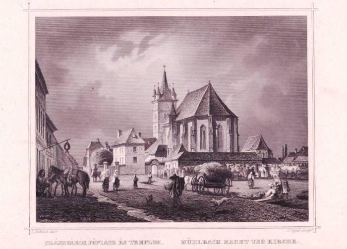 Sebeș (Sas-Sebeș, Mühlbach), gravură de Ludwig Rohbock, János Hunfalvy: Ungarn und Siebenbürgen in malerischen Original-Ansichten, 1864. Colecție personală