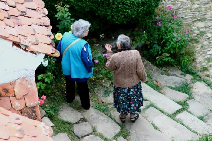 După ce și-a bucurat ochii cu fiecare floare în parte, Frau Dootz îî îndeamnă pe turiști să admire trandafirii care au înflorit a doua oară anul acesta în cetate.