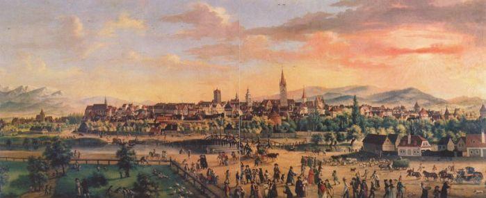 Sibiu/Hermannstadt, pictură de Franz Neuhauser cel Tânăr (1763-1836), 1807. Sursa foto: kunst-fuer-alle.de