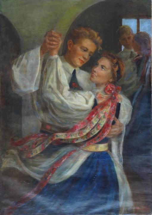 Splendid tablou pictat de Frida Binder-Radler,în anii '50. Tânărul din stânga este celebrul sculptor Peter Jacobi . Sursa foto: siebenbuerger.de